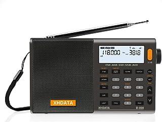 XHDATA D-808 FM/AM/SW/LW AIR SSB DSP RDS 高感度受信ポータブルラジオ オートオフ機能付き内蔵充電池電池式ワールドバンドラジオクロックラジオ