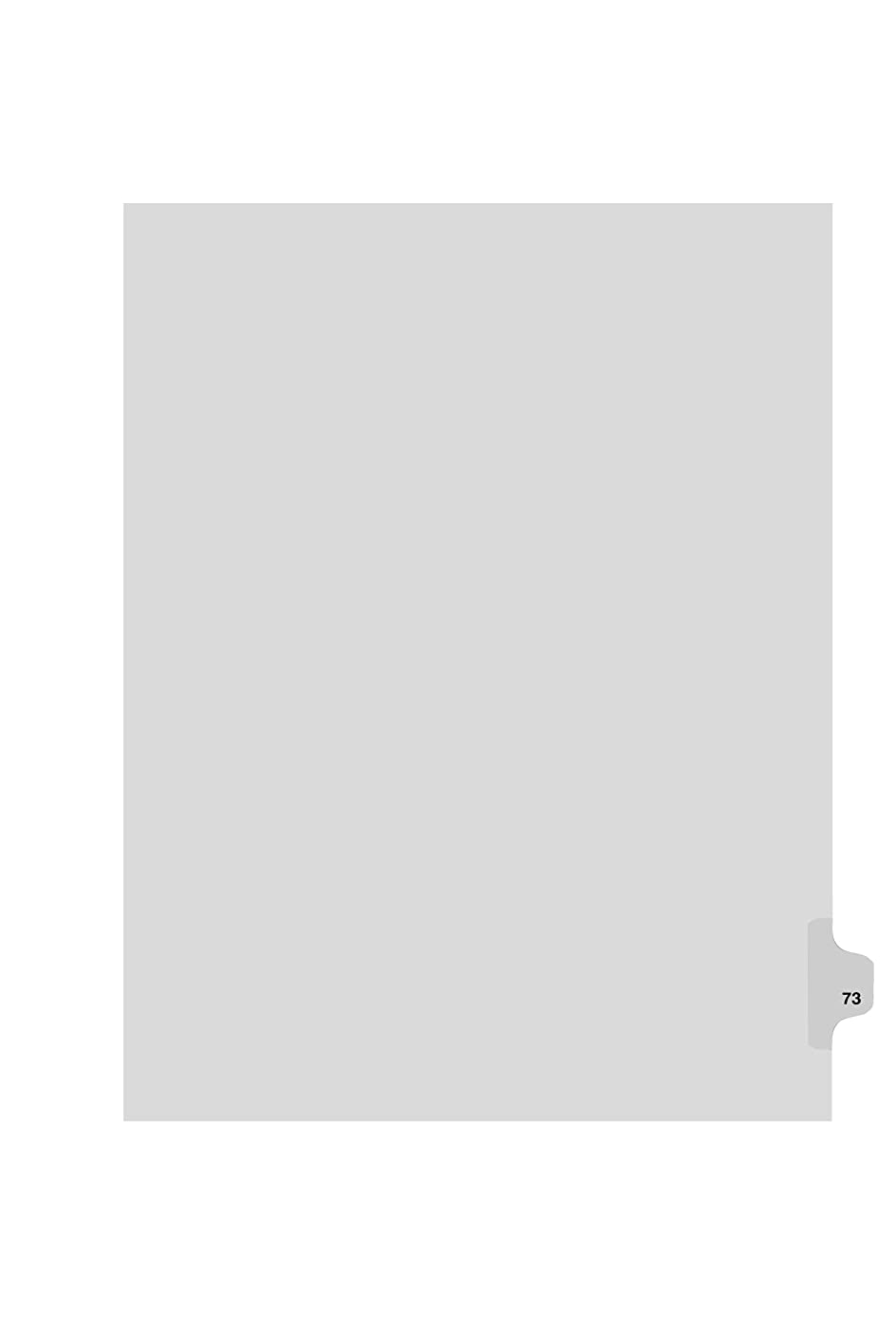 Kleer-Fax Letter Size Individual Number Index Dividers, Side Tab, 1/25th Cut, 25 Sheets per Pack, White, Number 73 (82273) nnnaovtgngl082