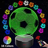 Soccer 3D LED Night Light for Kid Girl,3D Optical Illusion Lamp Nightlight for Bedroom Lamps with Remote Control 16 Color Touch Operated USB Battery Power Holiday Home Decor Xmas Birthday Gifts