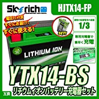 SKYRICH リチウムイオンバッテリー (YTX14-BS FTX14-BS 互換)& 充電器セット スカイリッチ専用充電器 + リチウムイオンバッテリー HJTX14-FP 【互換 YTX14-BS FTX14-BS GTX14-BS】 SKYRICH社製 シャドウ400 BC-NC34 NC34 アフリカツイン RD07 シャドウ750 RC44 ワルキューレ SC34 Harley-Davidson ハーレー V-ROD バイクバッテリー