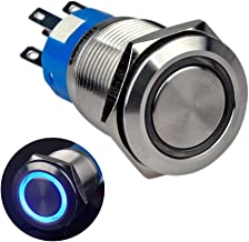 Ulincos Momentary Push Button Switch U19C3 1NO1NC Silver Stainless Steel Shell with 12V Blue LED Ring Suitable for 19mm 3/4