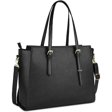 NEWHEY Handtasche Damen Shopper Damen Große Schwarz Gross Laptop Tasche 15.6 Zoll Elegant Leder Umhängetasche für Büro Arbeit Business Schule