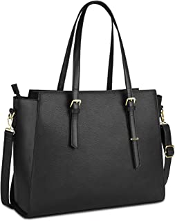 NEWHEY Handtasche Damen Shopper Damen Große Schwarz Gross Laptop Tasche 15.6 Zoll Elegant Leder Umhängetasche für Büro Arb...