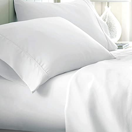 Amazon Com Egyptian Cotton 650 Thread Count Queen 4 Piece Sheet Set Deep Pocket Single Ply Solid White Home Kitchen