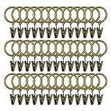 Bosdontek, 40 ganci per tenda con clip da 32 mm, per aste in metallo con diametro (bronzo)