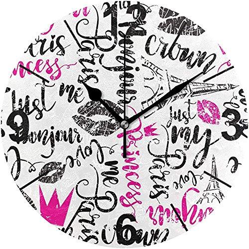 TABUE wandklok, geluidsarm, 9,5 inch (9,5 cm) met batterij, schokbestendig, model: Corona horloges, geruisloos, acryl, Rotondi