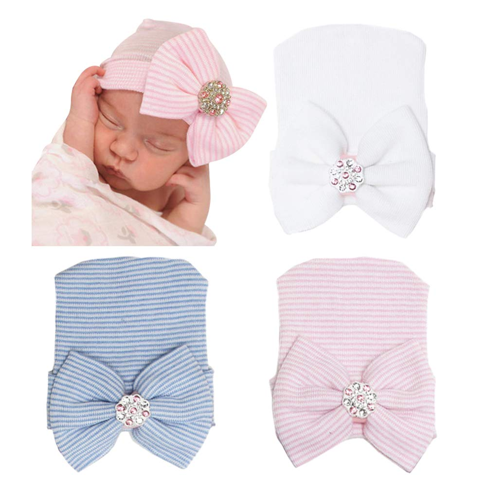Newborn Hospital Hat Soft Infant Baby Hat Cute Big Bow Knot Nursery Beanie White