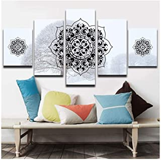 RTYUIHN 5 Pieces Living Room Mural Snow Background Islamic Muslim Arabic Wall Poster Print Mandala Picture Modular Art Mural