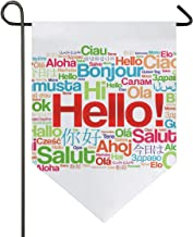 ATONO Hello Word in Different Languages Garden Yard Flag Outdoor Flags & Banners Double Sided Polyester for Home Deco 28x40 Inch