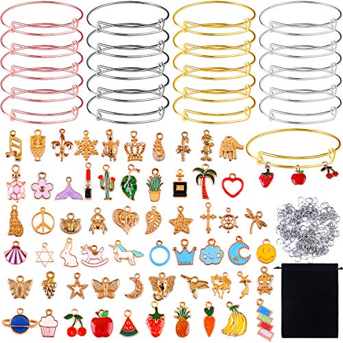 URATOT 280 Pieces Charm Bracelets DIY Kit 20 Pieces Expandable Bangle Adjustable Wire Bracelets Assorted with 60 Pieces Gold Charm Pendants and 200 Pieces Open Rings for Women, Jewelry Making