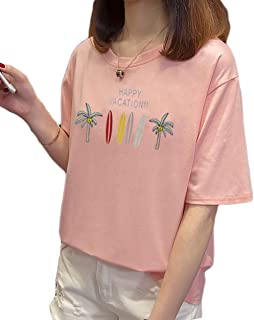 Fashring Women's Short Sleeve Round Neck Floral Letter Print Loose Oversize Summer Tee Top Blouse