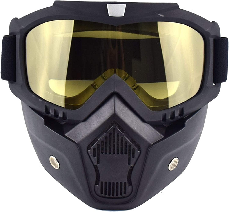 Gafas De Moto,Gafas De Motocross Mascarilla de la motocicleta Gafas de gafas retro Cara abierta Motocross Casco Gafas desmontable Boca Filtro Mascarilla Afile (Color : MJ020 Yellow)