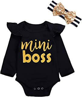 Newborn Baby Girl Clothes Mini Bodysuit and Headband Short Sleeve Outfits