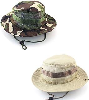 CAILI Sombrero de Pesca Redondo al Aire Libre de 2 Piezas, Sombrero de Jungla Informal, Gorra de Camping de Trekking de Pesca, Unisex (Caqui, Camuflaje Verde)