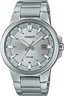 CASIO Stainless Steel Band Analog Watch for Men - Silver