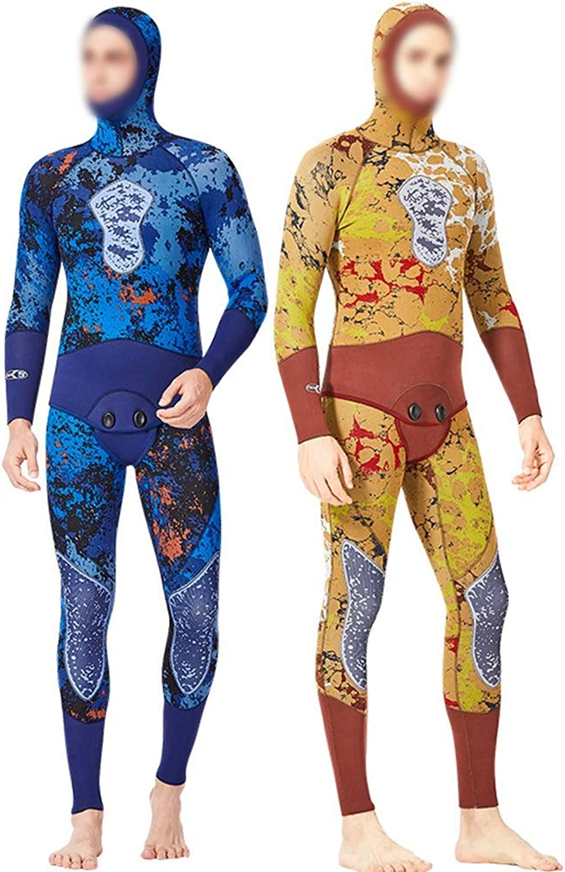 Pro-BikeUS Hunting Fish Suit 5MM Camouflage Male Split Suit Diving Suit Hooded Warm Free Diving Swimsuit