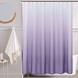 BRIGHT GRAPE PURPLE FABRIC SHOWER CURTAIN and HOOKS NEW