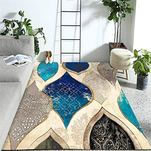 Kunsen Vloerkleed, gezellig, antislip, blauw, zwartbruin, modern graffiti-tapijt voor de woonkamer, creatief slijtvast, koffietafel, 120 x 200 cm
