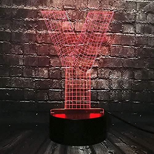 Diaporama 3D creatieve letter Moderne Y lamp 3D Ambiente LED nachtlicht cadeau kinderen acryl A - Touch 7 kleuren (zwart) - / E - wekker kleur 7