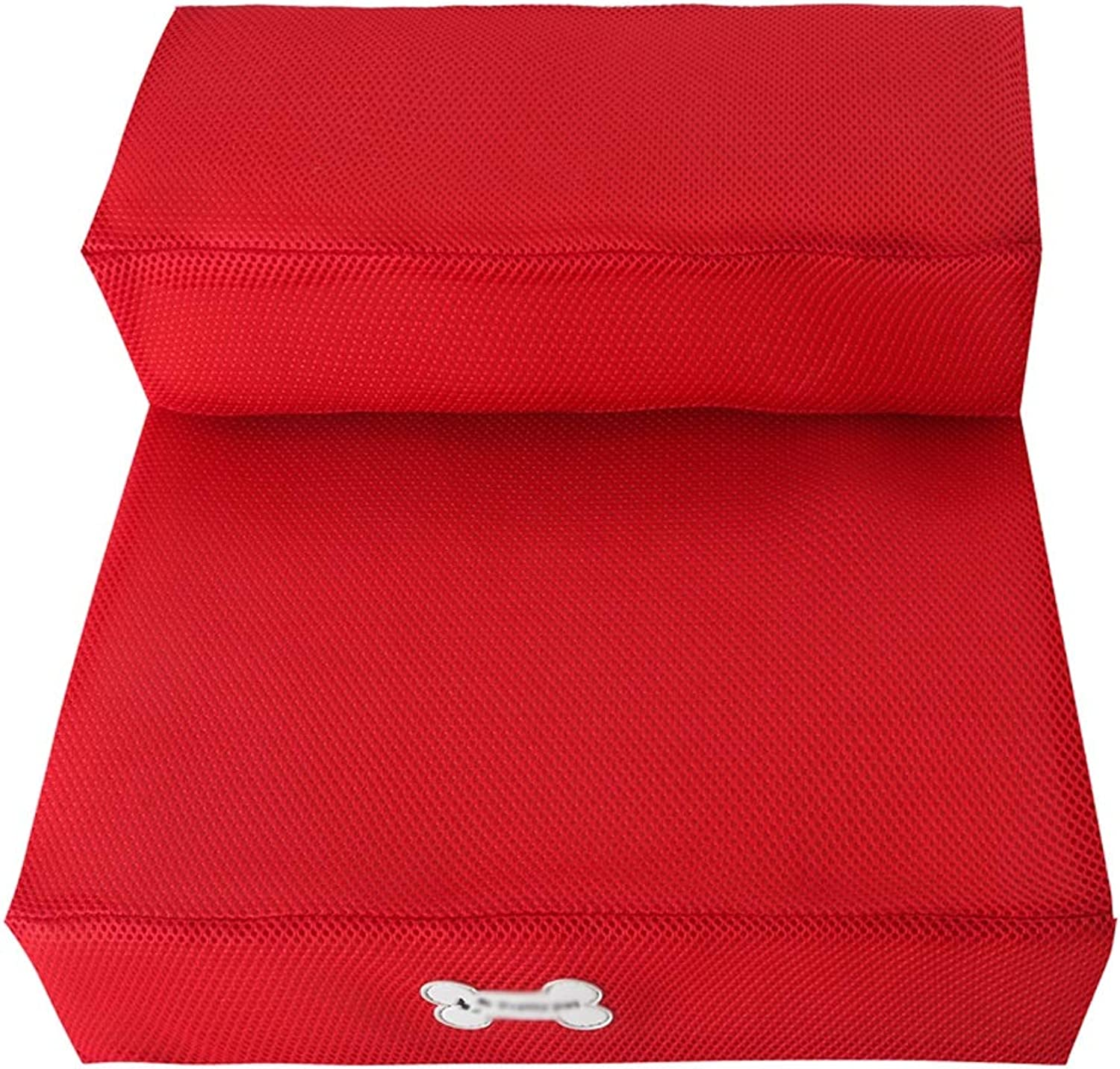 DS Pet toys Dog Stairs Breathable Mesh Foldable Outer Layer Detachable Cleaning Pet Stairs Training Table Sponge Mat Climb 6 colors Optional && (color   Red)