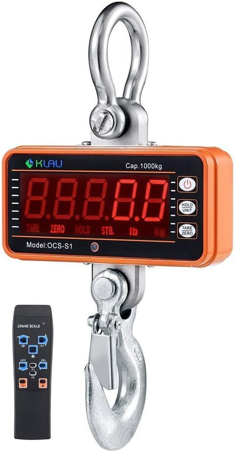 Crane Scale,Klau 1 Ton 2000 lb Heavy Duty Industrial Digital Smart Hanging Scales LED Display with Remote Orange for Farm