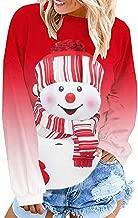 NANTE Top Women's Blouse Christmas Long Sleeve Sweatshirt Dyed Cartoon Snowman Printed Pullover Oversize Tops Xmas Blouses