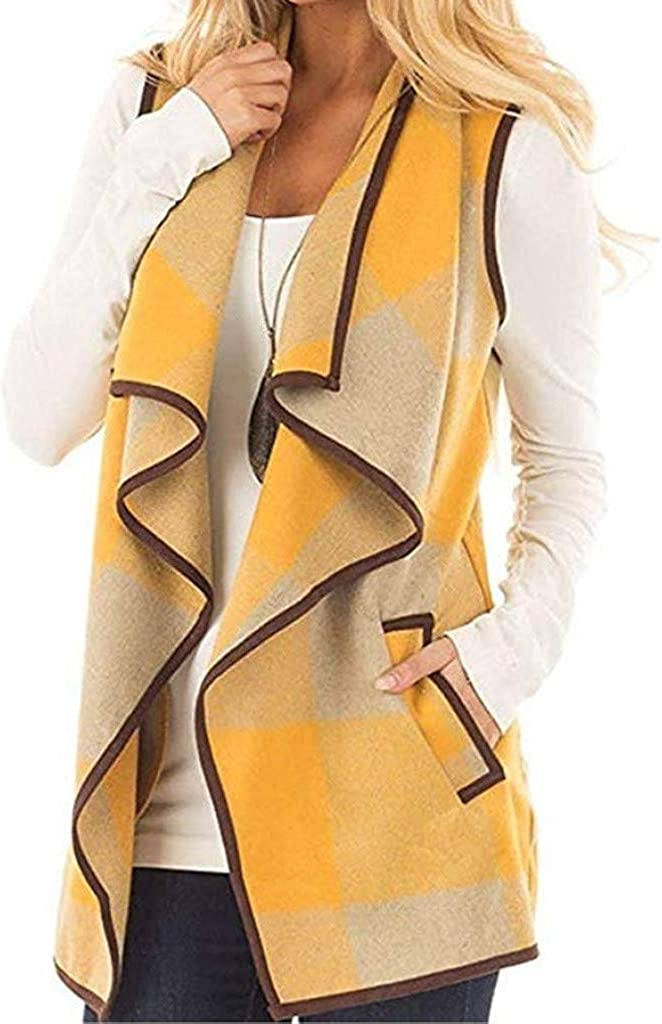 TOTOD Women Casual Lapel Open Front Plaid Vest Cardigan Color Block Sleeveless Jacket Coat with Pockets