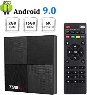 T95 Mini Android 9.0 TV Box, TUREWELL Android Box 2GB RAM 16GB ROM TV Box H6 Quadcore cortex-A53 Smart TV Box 2.4GHz WiFi 3D 6K Android Box Streaming Media Player