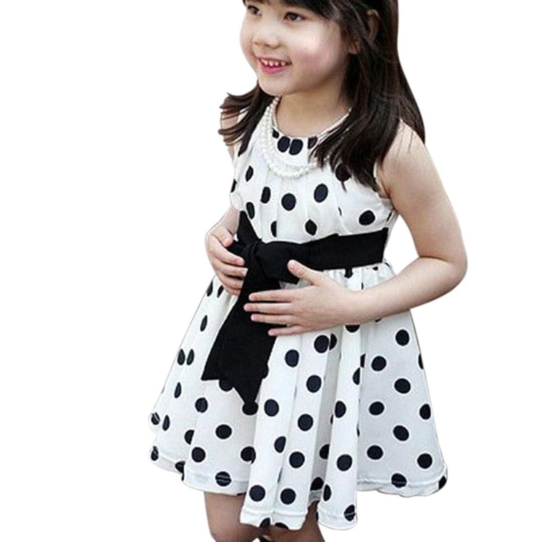 Weixinbuy Kids Girls Polka Dot Chiffion Sundress Bowknot Belt Dress yuenxoxi1