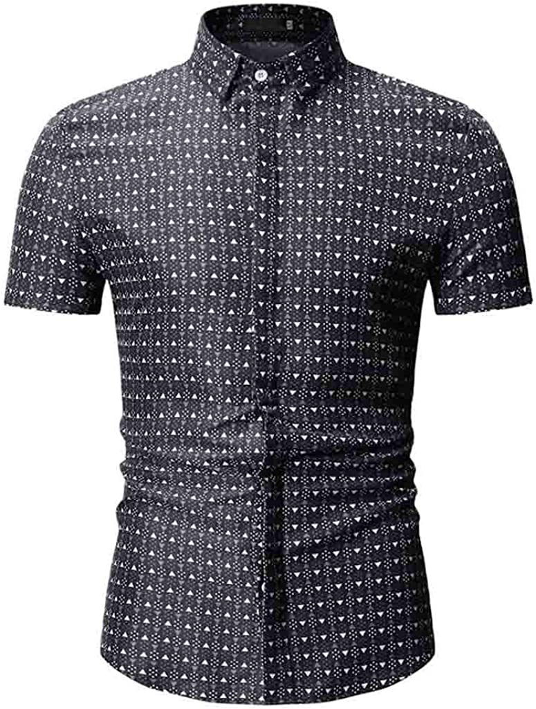 MODOQO Mens Dress Shirts,Business Fashion Striped Turn-Down Collar Big and Tall T-Shirt