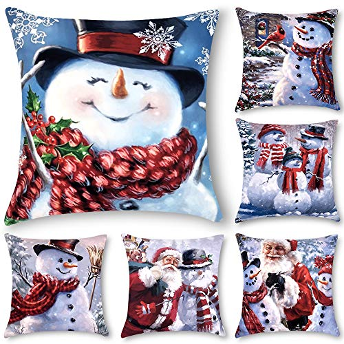 Decorsurface Christmas Throw Pillow Covers 18x18, Set of 6 Couch Pillow Covers for Xmas, Christmas Holiday Square Cushion Cases for Couch Sofa Bed car, Snowman Pattern