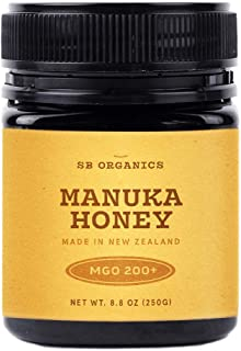 SB Organics MGO 200+ Raw Manuka Honey - Authentic Medicinal Grade Premium Certified New Zealand Honey – Non-GMO, Halal, Additive-Free, Quality Honey – 8.8 Ounces