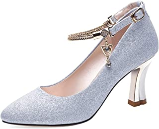 High Heels Female Pointed Head Shallow Mouth Casual Shoes Wine Glass with Solid Color Low Shoes Waterproof Platform Rivet Thick with Women's Shoes Gold Silver (Color : Silver, Size : 34)
