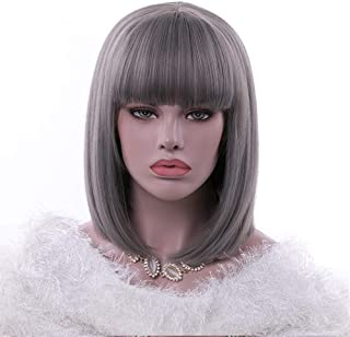 Rosa Star Short Bob Wig 12 Inches Straight Synthetic Hair Wigs with Bangs for Women Heat Resistant Fiber Hair Wig (171)