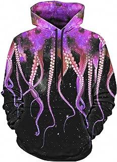 3D Hoodies with Hat Kangaroo Pocket Octopus Claw Galaxy Drawstring Hoodie 2 XXL