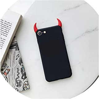 Soft Silicone Black Red Case Devil Horns Demon Angel Cover for iPhone 8 7 6 6s Plus X XS Max XR 5S SE Fashion Phone Case Fundas,Black,for iPhone XR