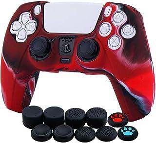 Funda de piel de silicona para el controlador PS5 Dualsense x 1 (camuflaje rojo) con agarres para el pulgar x 10