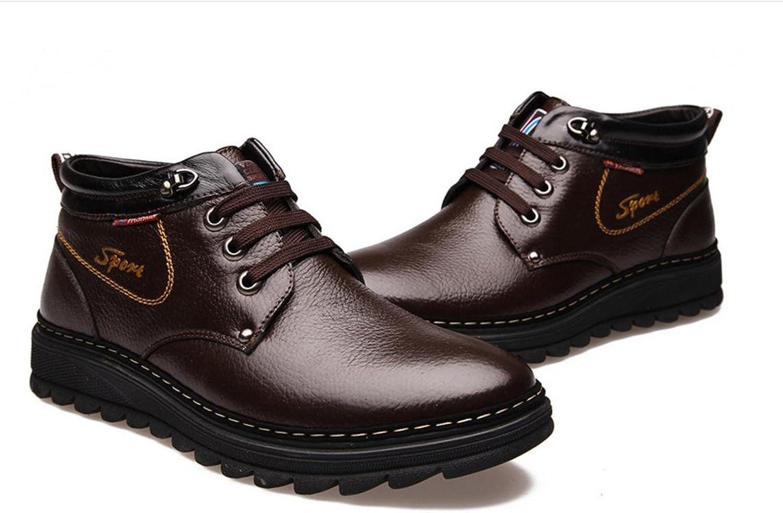 WZG Winter men 's leather warm Mianxian warm cotton boots men' s cotton boots winter warm shoes casual shoes , brown , 39