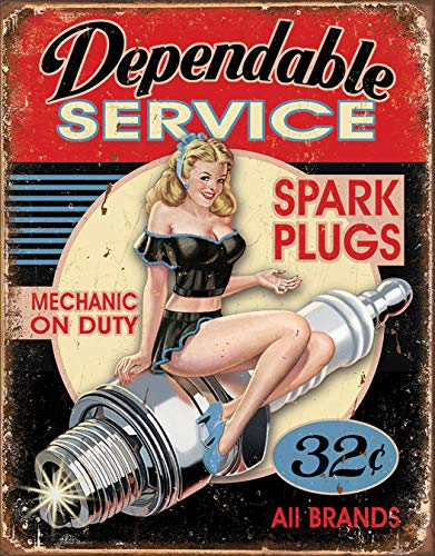 Dependable Service Pin Up Mechanic Metal Sign Flach New 31x40cm VS4262