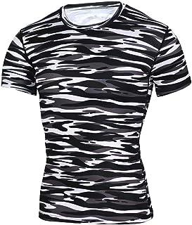 Tシャツ メンズ Boybya 筋トレヨガ服 半袖 迷彩柄 横縞 プリント 吸汗速乾 通気性 快適 タイト 簡約風 ゆったり ボディビル インナー マッスルフィット オシャレ 人気 カジュアル トレーニングウェア スポーツウェア フィットネス ストリート