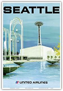 Pacifica Island Art Seattle - Space Needle and Seattle Center - United Airlines - Vintage Airline Travel Poster by Hollenbeck c.1970s - Master Art Print - 13in x 19in