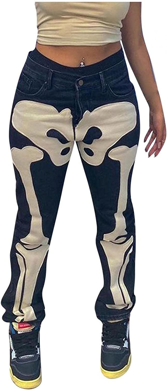 Dunacifa Jeans for Women High Waisted Stretch Y2k Skeleton Print Straight Leg Boyfriends Jean Casual Loose Denim Streetwears