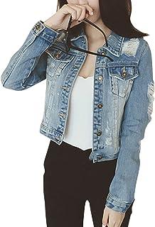 21324f6602 Femmes Printemps Veste en Jeans Manches Longues Déchiré Trous Blouson  Manteau
