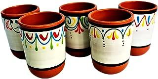 Cactus Canyon Ceramics Spanish Terracotta 5-Piece Cup Set, White