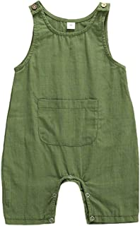 JRPONY Baby Boys Girls Romper Cotton Sleeveless Solid Jumpsuit with Pocket