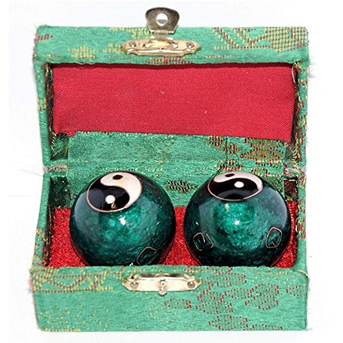 VERY100chinesische Baoding-Bälle, Gesundheits- / Übungs- / Stress-Bälle, 40mm-chromfarbene Chi-Bälle mit Box