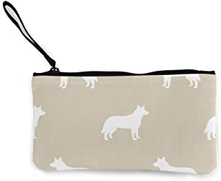 Australian Cattle Dog Silhouette Sand Multifunctional Portable Canvas Coin Purse Phone Pouch Cosmetic Bag,Zippered Wristlets Bag