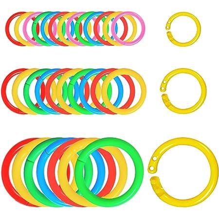 220PCS Anneaux de Livre Plastique 1.5cm 2cm 3cm Anneaux de Reliure Multicolore Porte-Clés Ouvrable pour Bricolage Carte d'étude Album Photo Scrapbook Rideaux