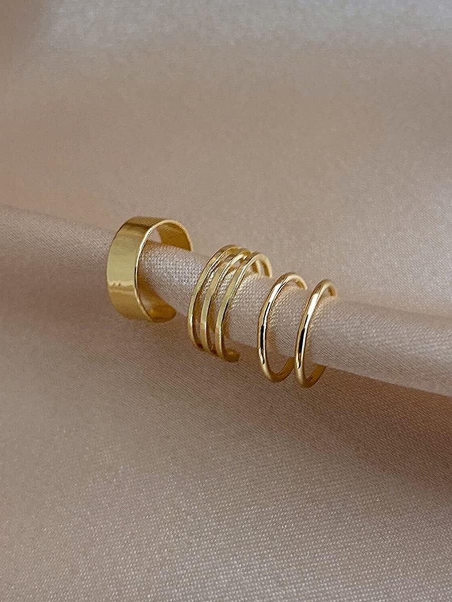 frenma Hoop Earrings 3pcs Minimalist Ear Cuff (Color : Gold)