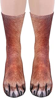 Song Qing Unisex Adult 3D Print Animal Foot Hoof Paw Print Sock Crew Socks